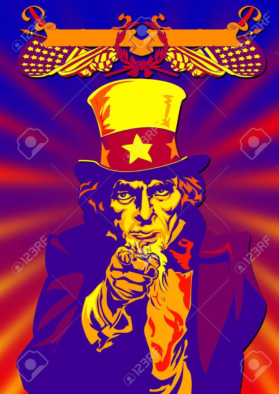 Uncle Sam in the classic I Want You pose with graphic on back Stock Photo - 2247406