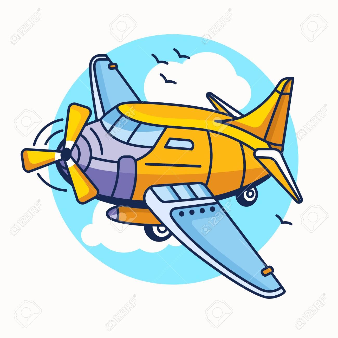 Ilustracao De Desenho Animado De Aviao De Aviao Em Cor Amarela
