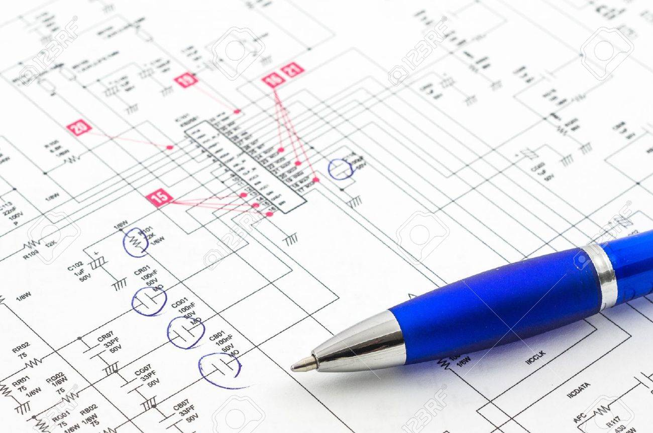 Electricity diagram drawing or design with pen on blueprint electricity diagram drawing or design with pen on blueprint stock photo 13524445 malvernweather Image collections