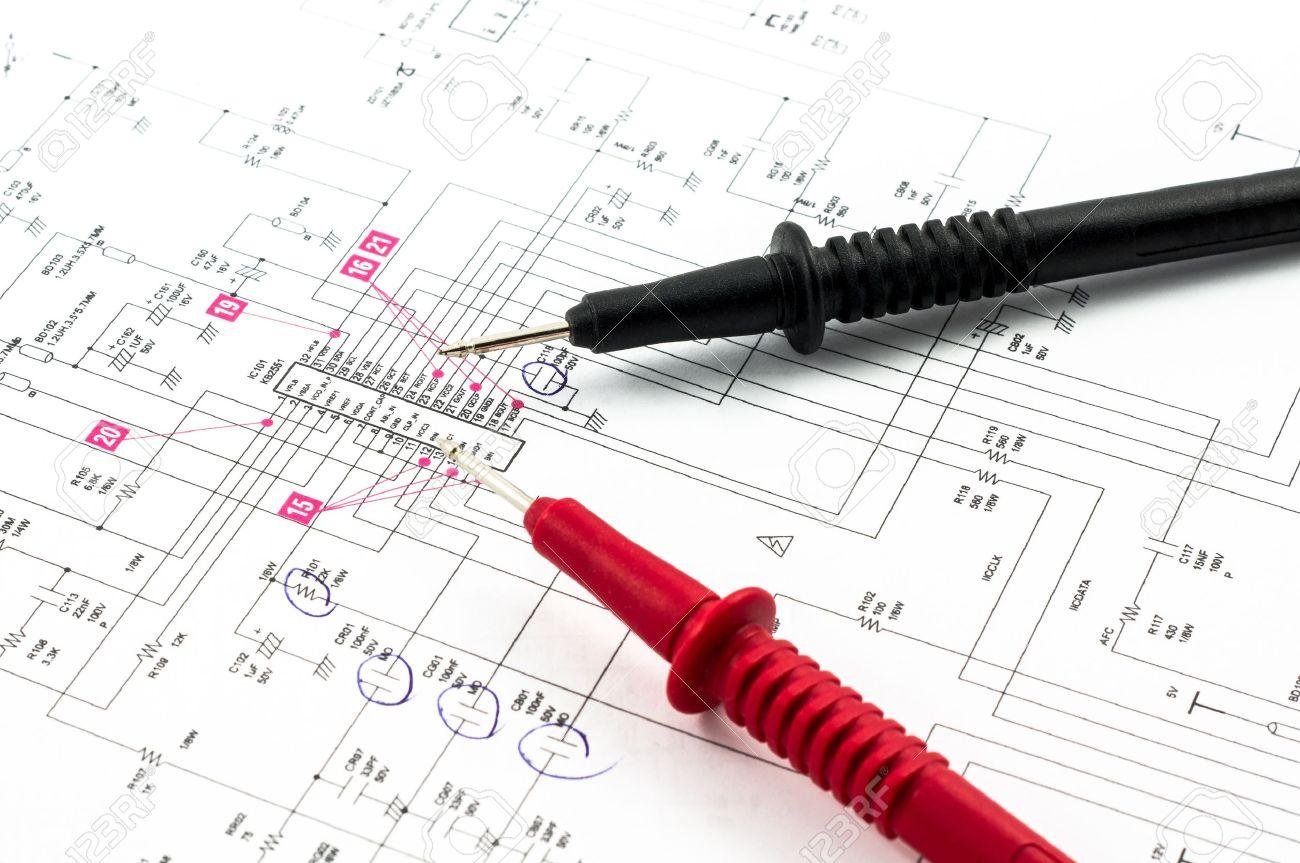 Strom-Diagramm Zeichnung Oder Design Und Spitzen Elektrischen ...