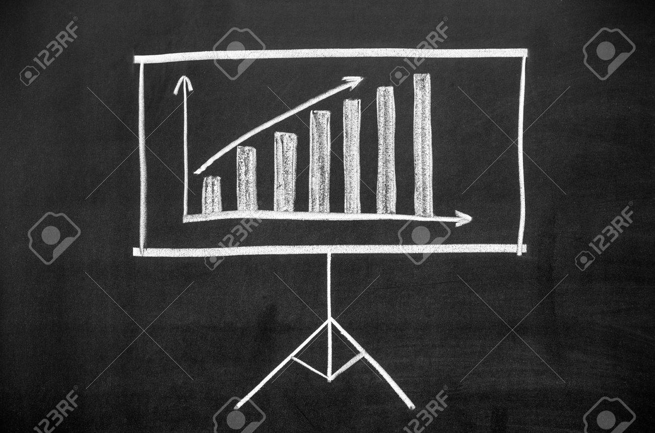 Projector Screen Drawn On The Blackboard The Display Shows The ...