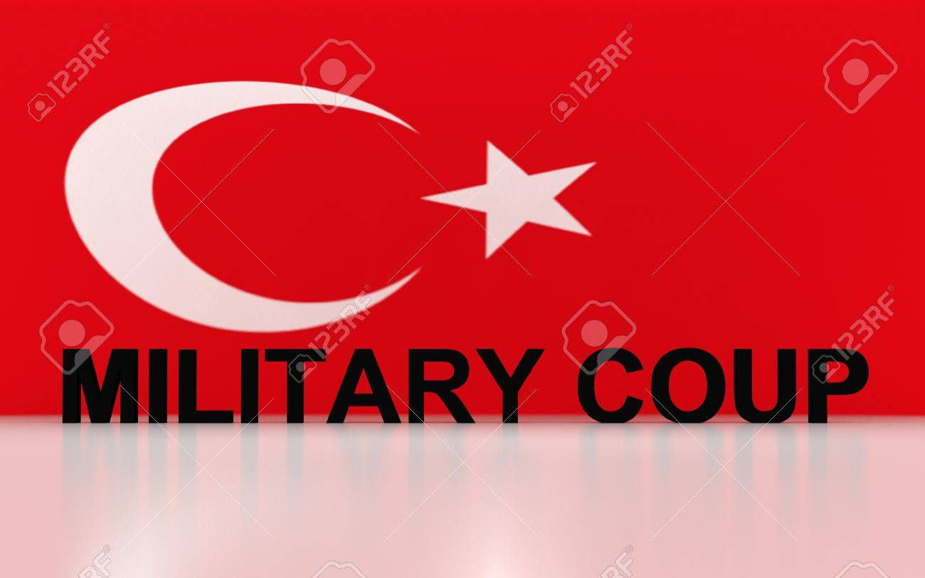 3D rendered signs, turkey flag symbols and write military coup