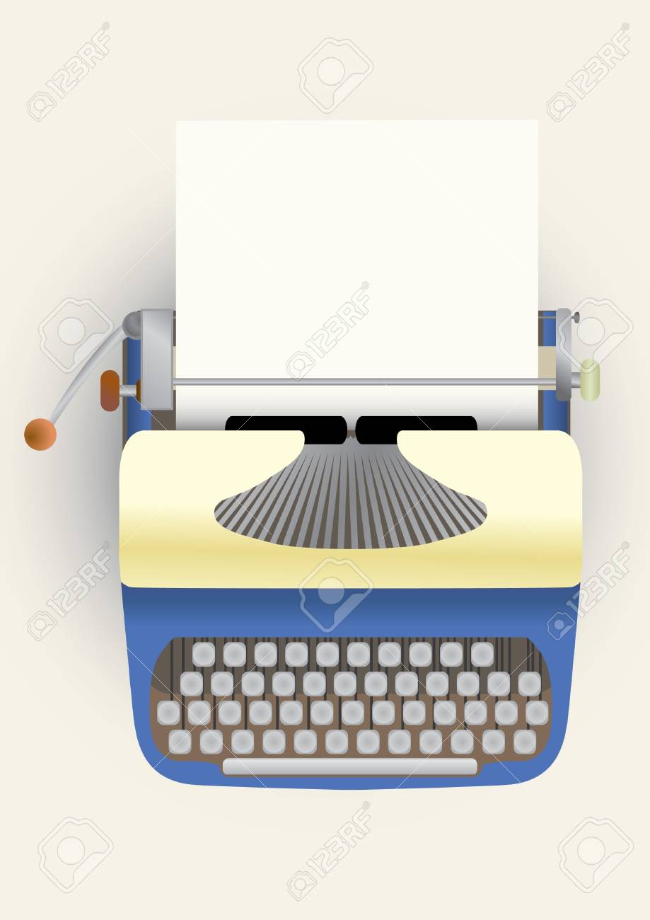 typewriter with a paper Stock Vector - 10981263