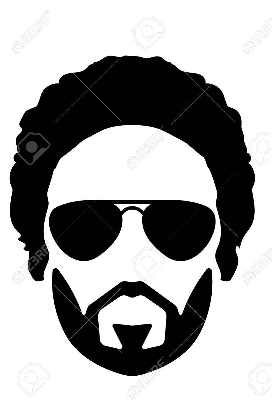 長い髪と髭の男のシルエット イラストのイラスト素材ベクタ Image