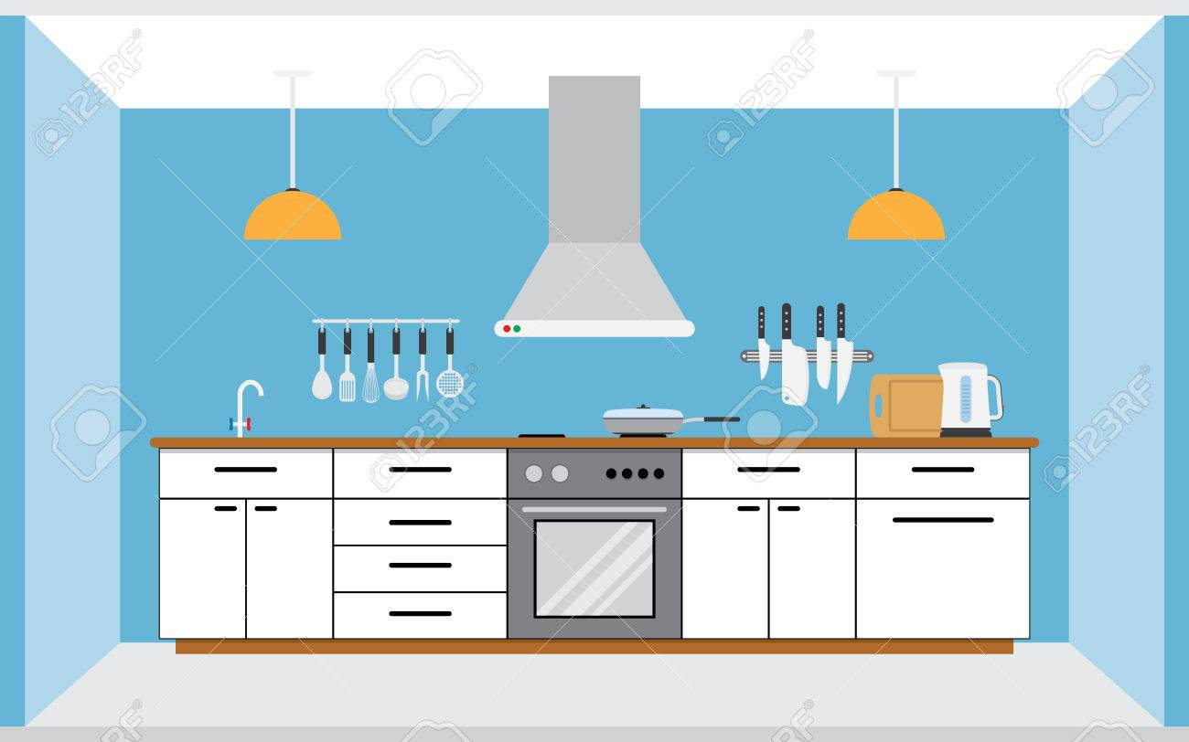 Kitchen Wall Background kitchen wall interior. flat style vector illustration isolated