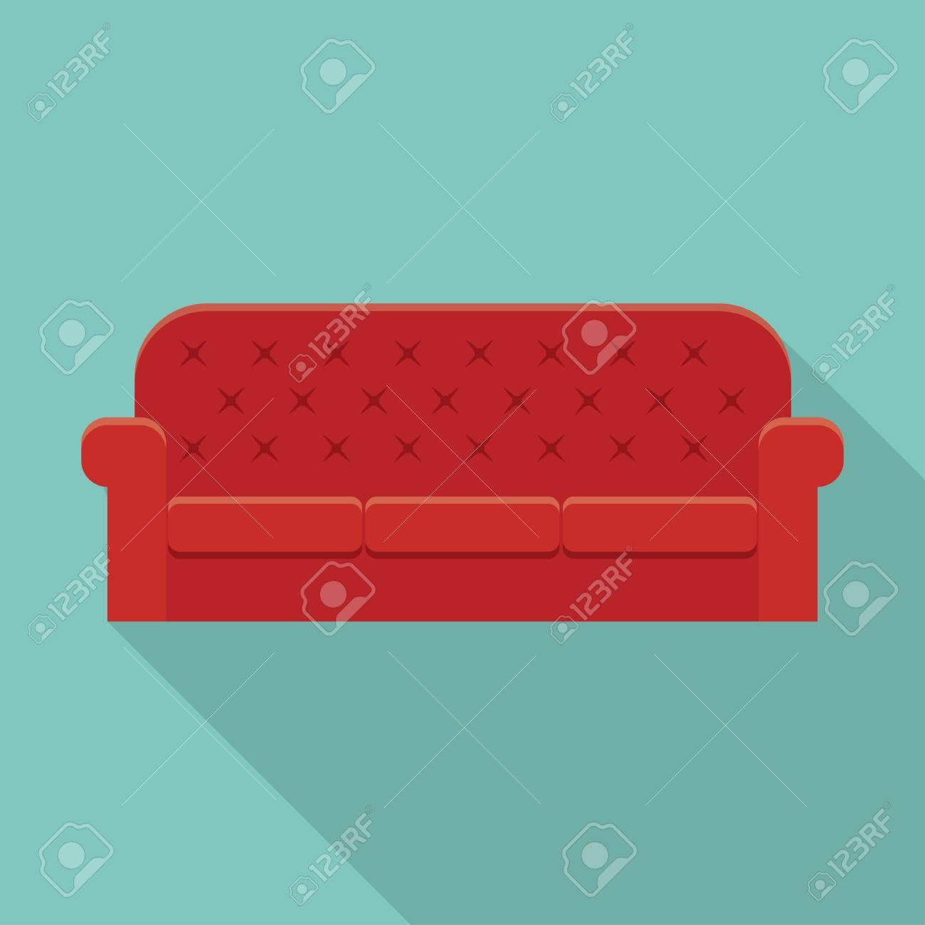 Red Sofa De Luxe En Cuir Pour La Réception Du Salon Moderne Ou Salon ...