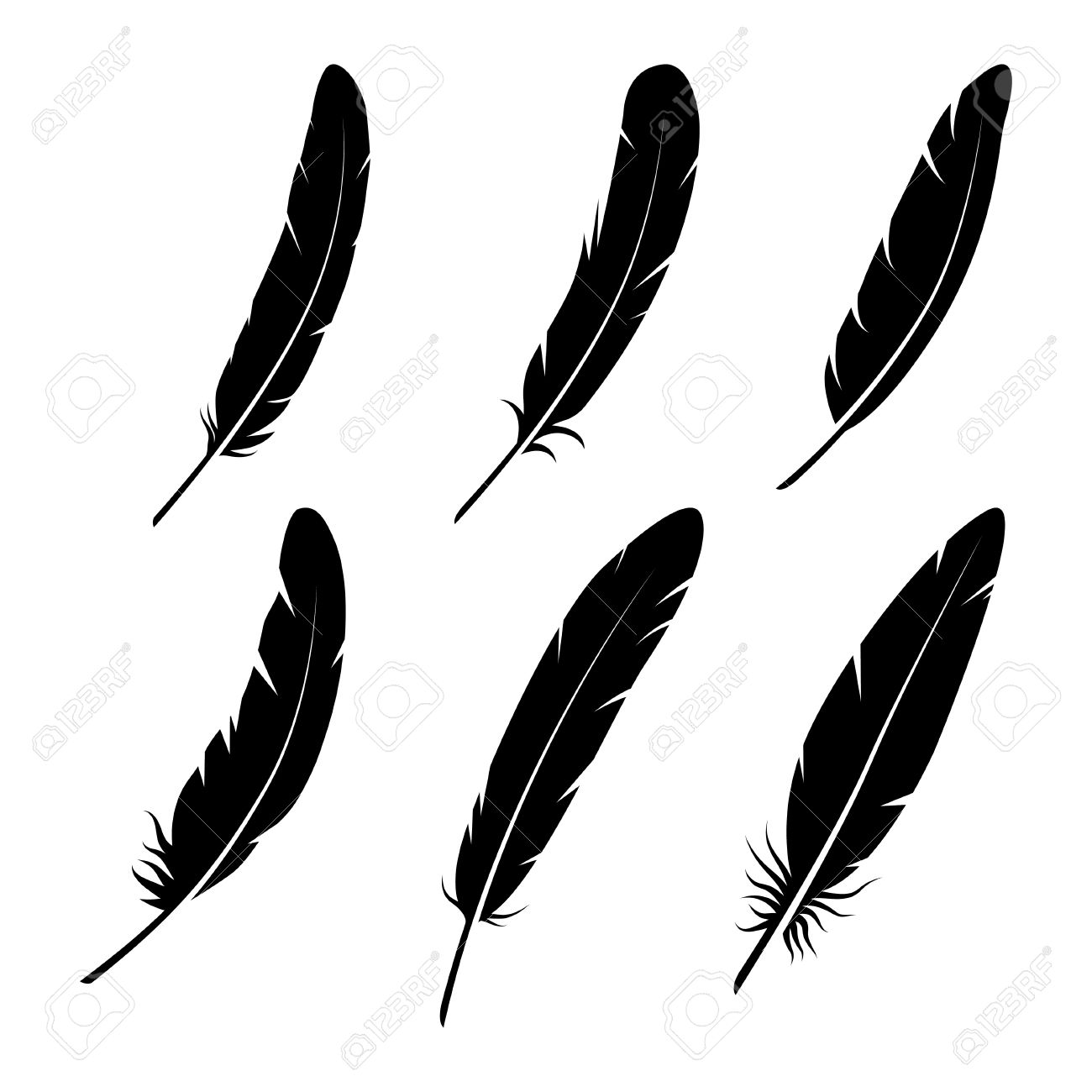 feathers vector black and white silhouette collection feather rh 123rf com feather vector png feather vector png