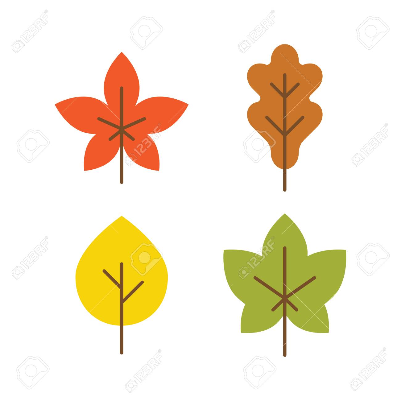 Multicolor Autumn Leaves Flat Icons Fall Vector Royalty Free Cliparts Vectors And Stock Illustration Image 65179610