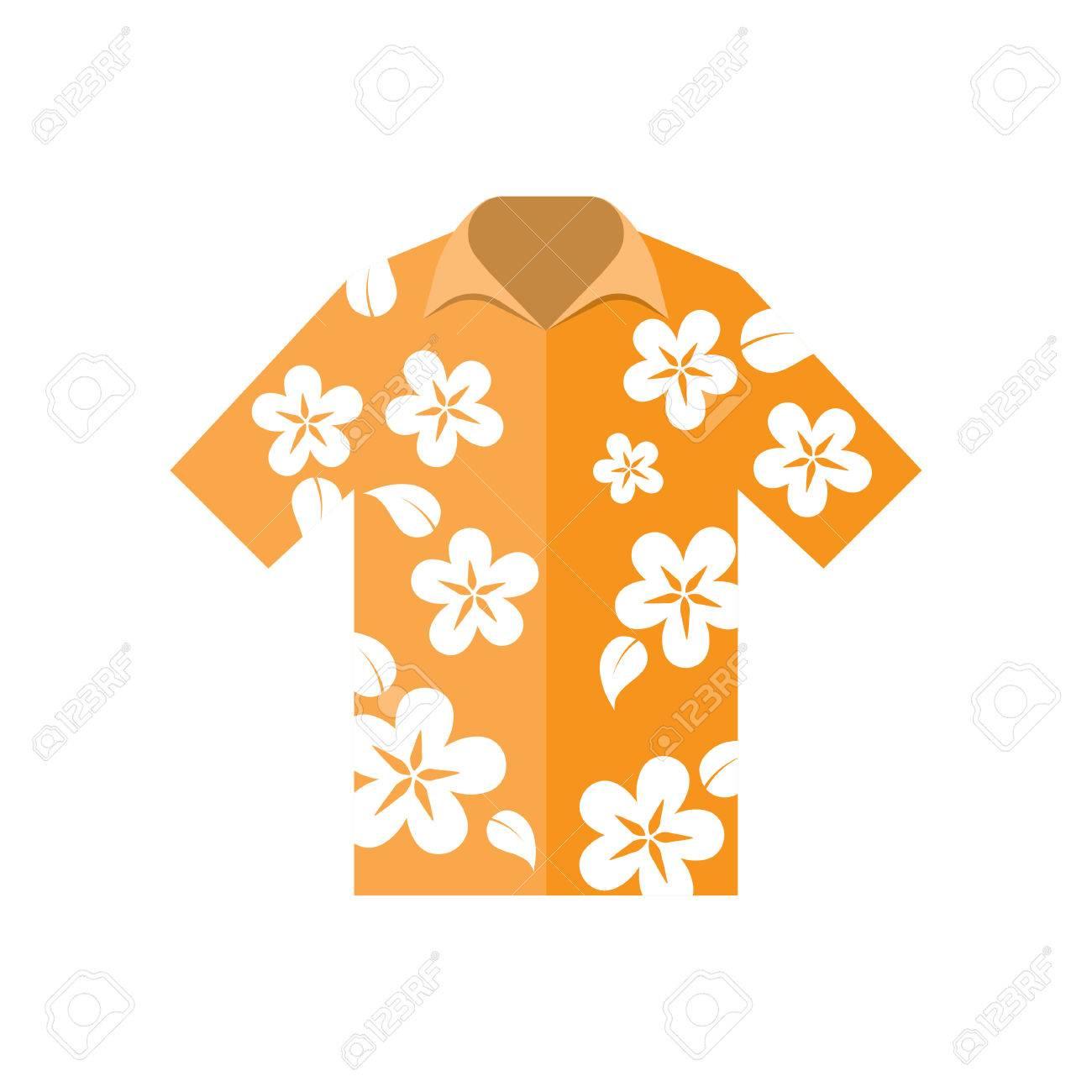 Camisa De Flores Hawaianas Ilustracion Vectorial Sobre Un Fondo
