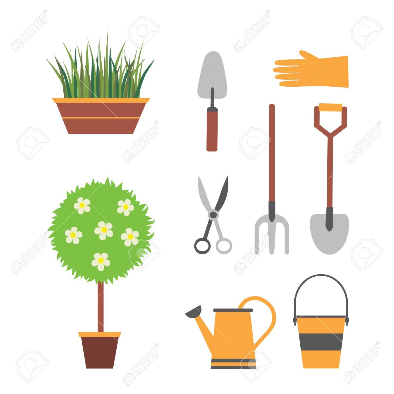 Les Outils De Jardinage Avec Photos outils de jardinage, jardinage, ensemble de jardin avec des plantes, pelle,  arrosoir, ciseaux à fourche