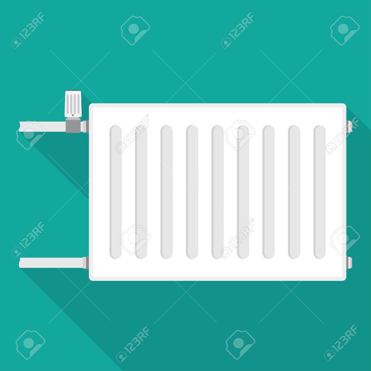 Heating Radiator. Metal Radiator For Heating Systems. On A Blue ...