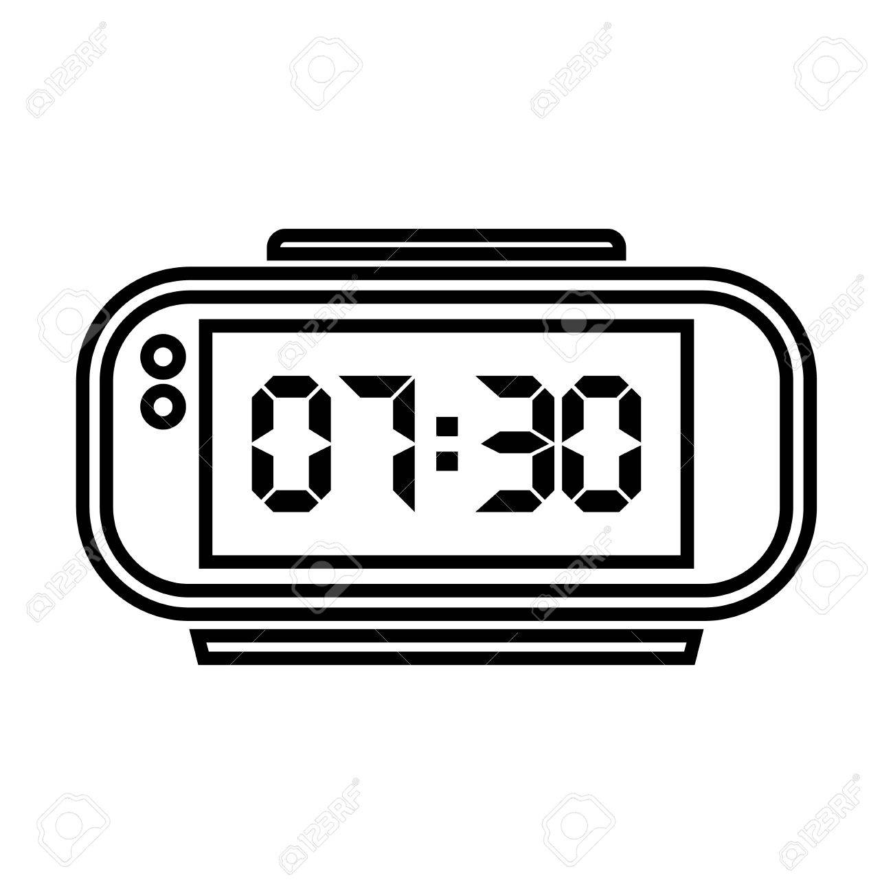 Digital Alarm Clock Vector Illustration On White Background Stock