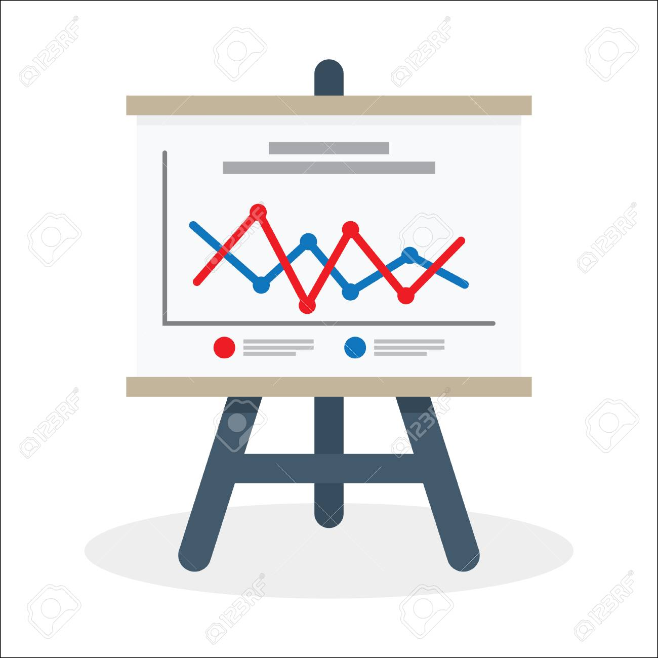 presentation whiteboard with market data and statistics for future