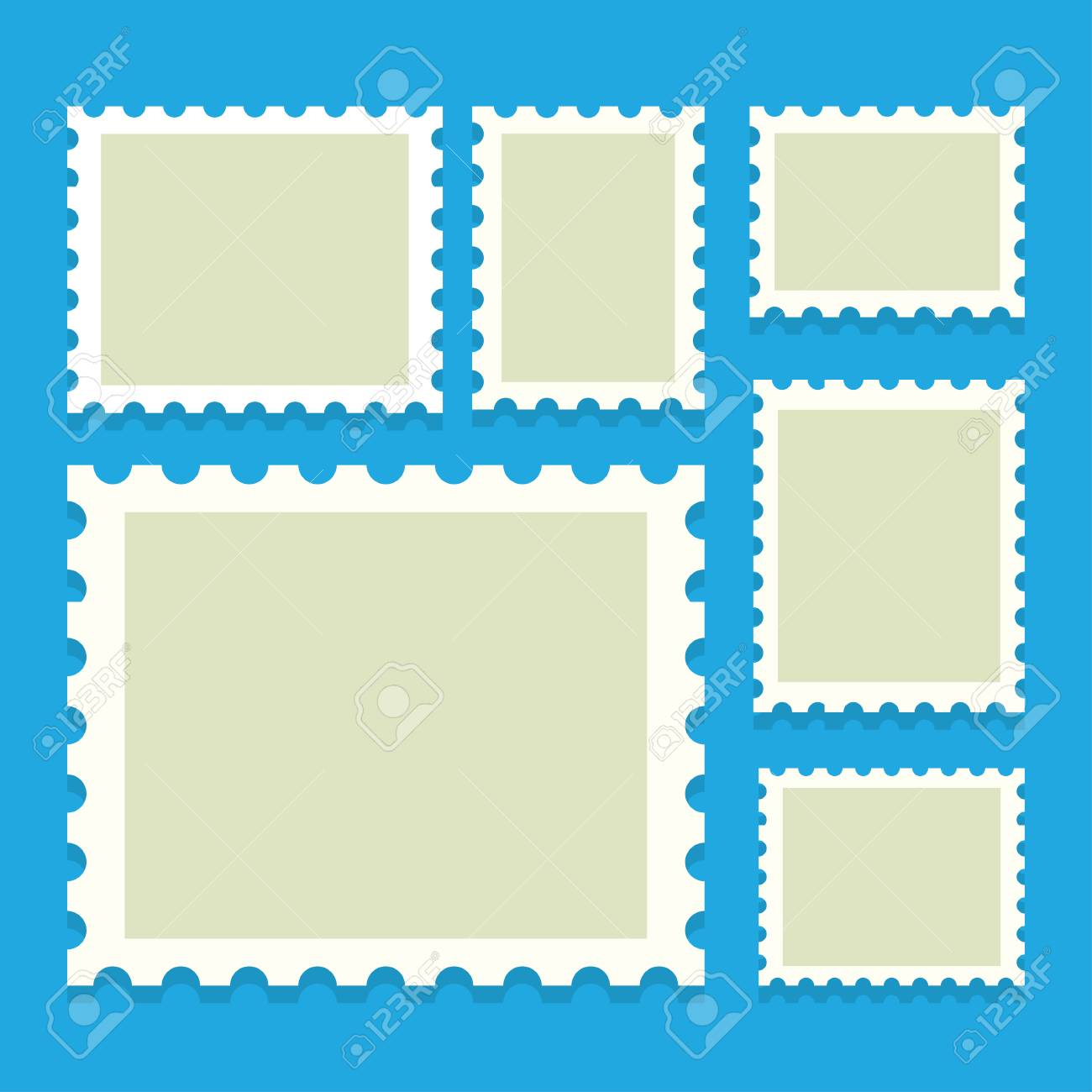 blank postage stamps templates with place for your images vector