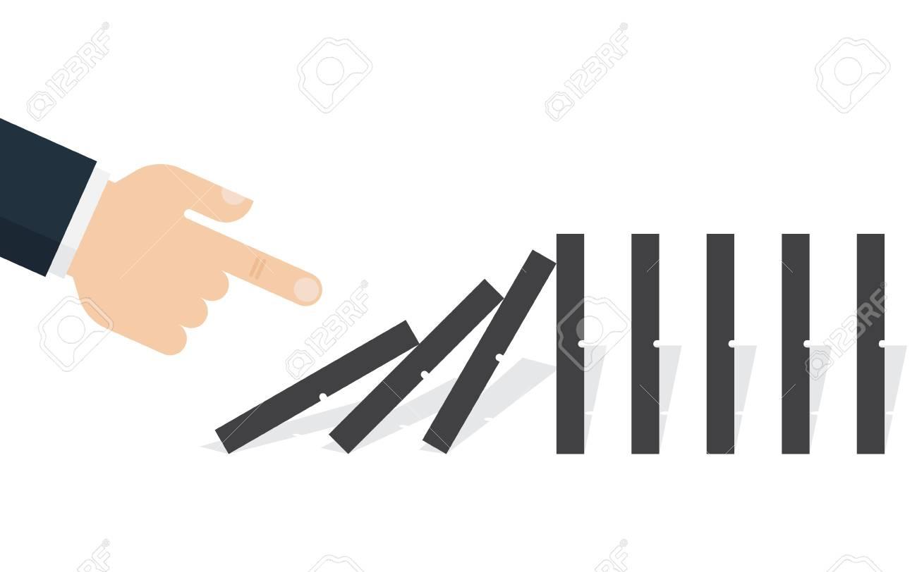 Hand pushing the domino. Domino effect. Vector illustration. Flat design - 84609932