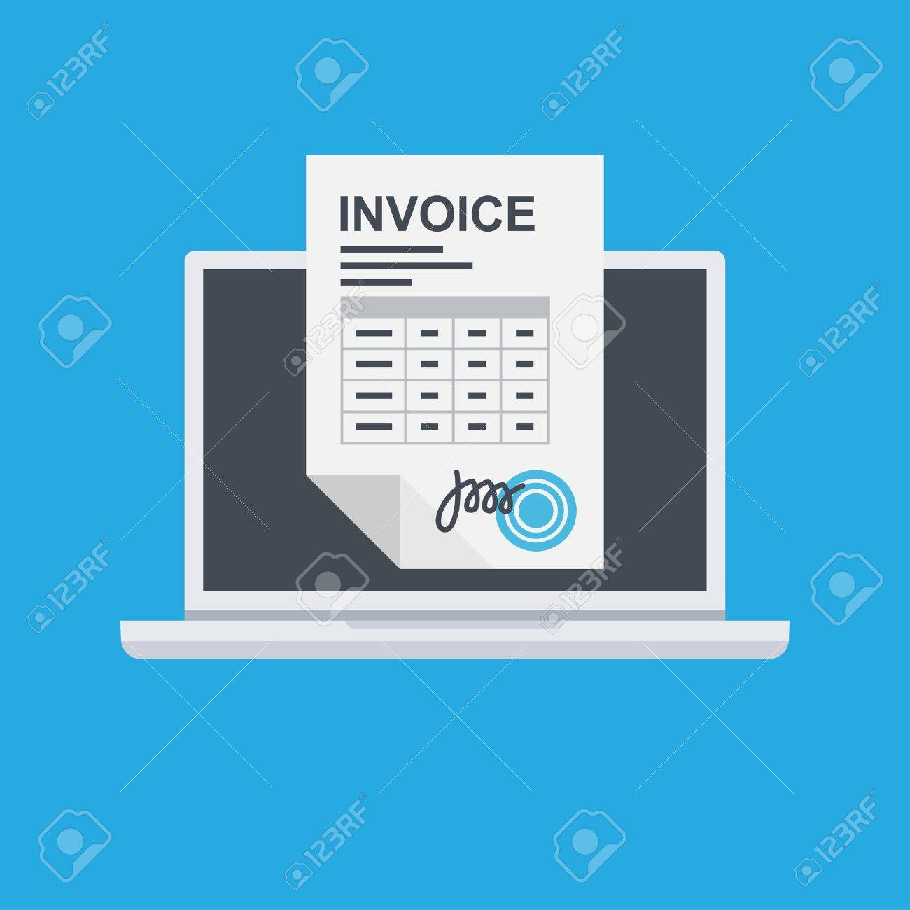 invoice invoicing online service pay using laptop. Vector Illustration - 86963307