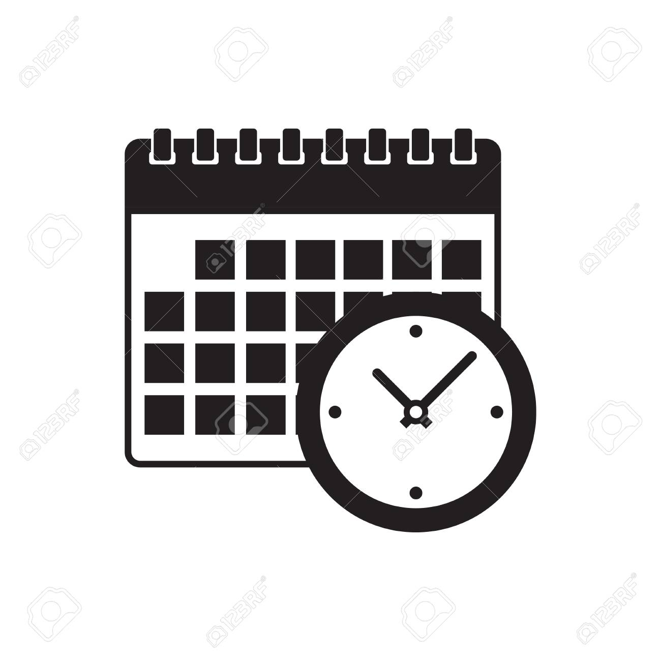 calendar and clock icon  Schedule, appointment, on white background,