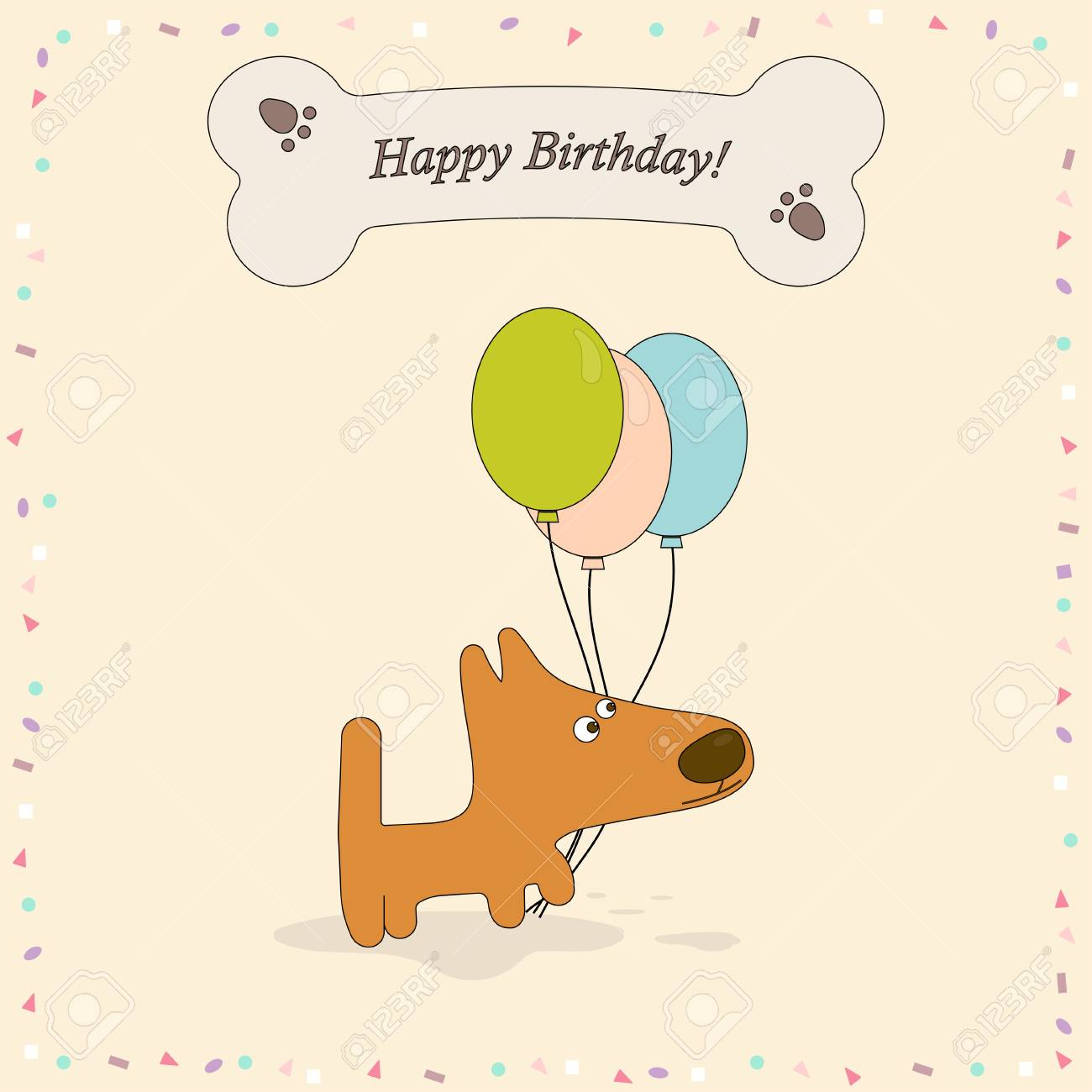 Happy Birthday Greeting Card With Cute Dog Background Bone Confetti And