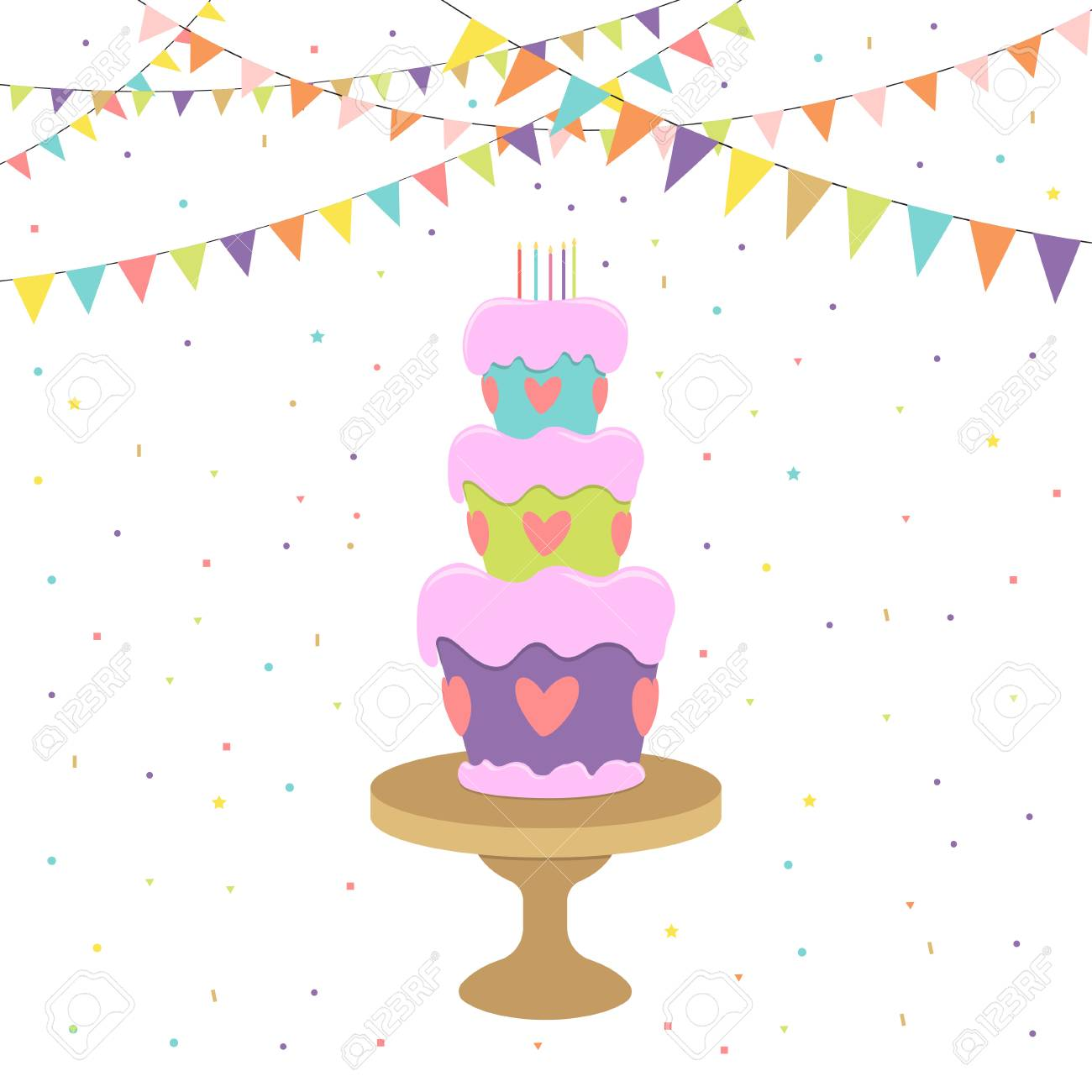 Greeting and invitation card with birthday cake on stand candles greeting and invitation card with birthday cake on stand candles confetti and flags stopboris Gallery