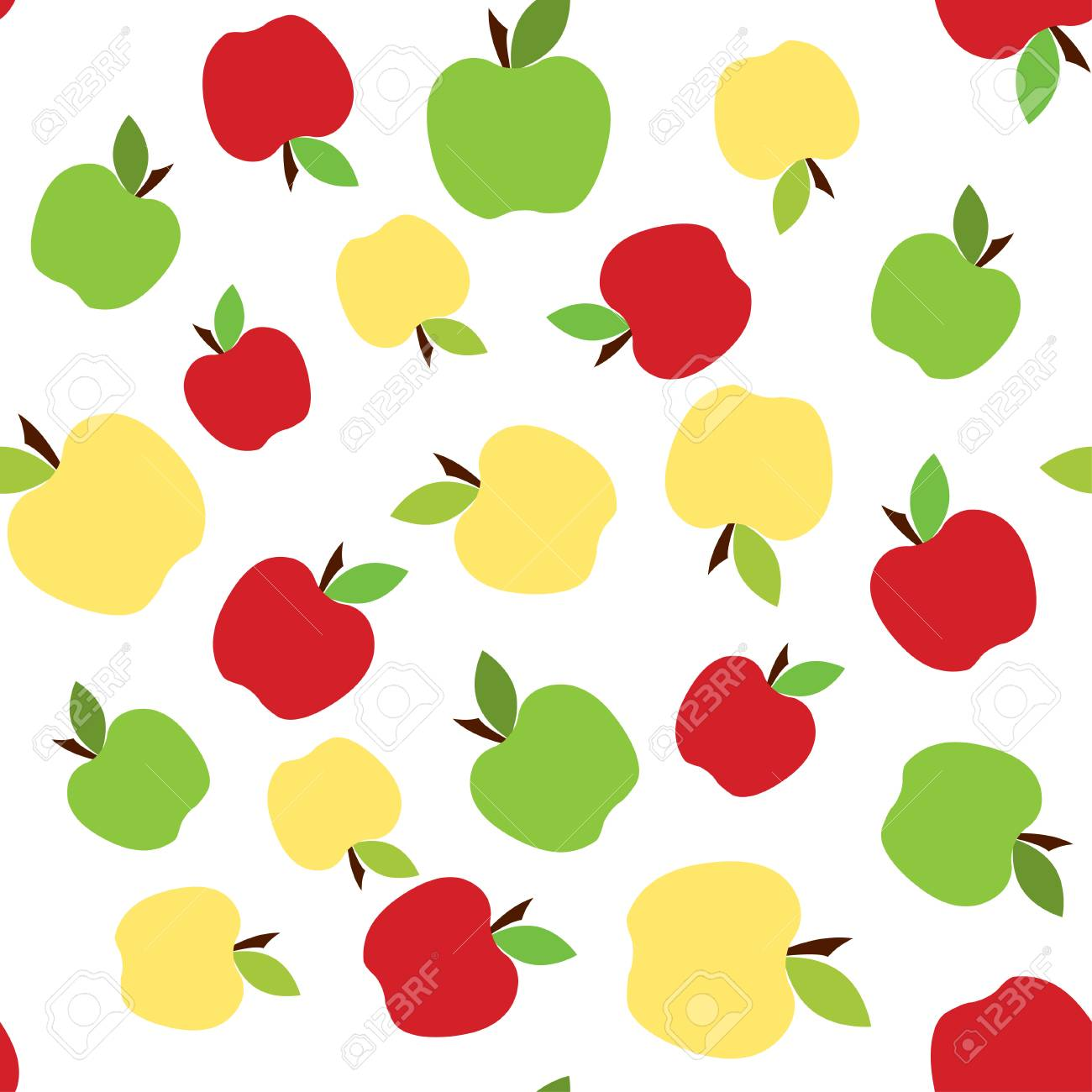green and red apples seamless pattern, background with cute fruits