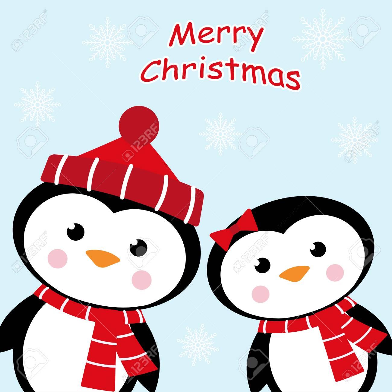 Pingüinos De Dibujos Animados Aislados Sobre Fondo De Invierno