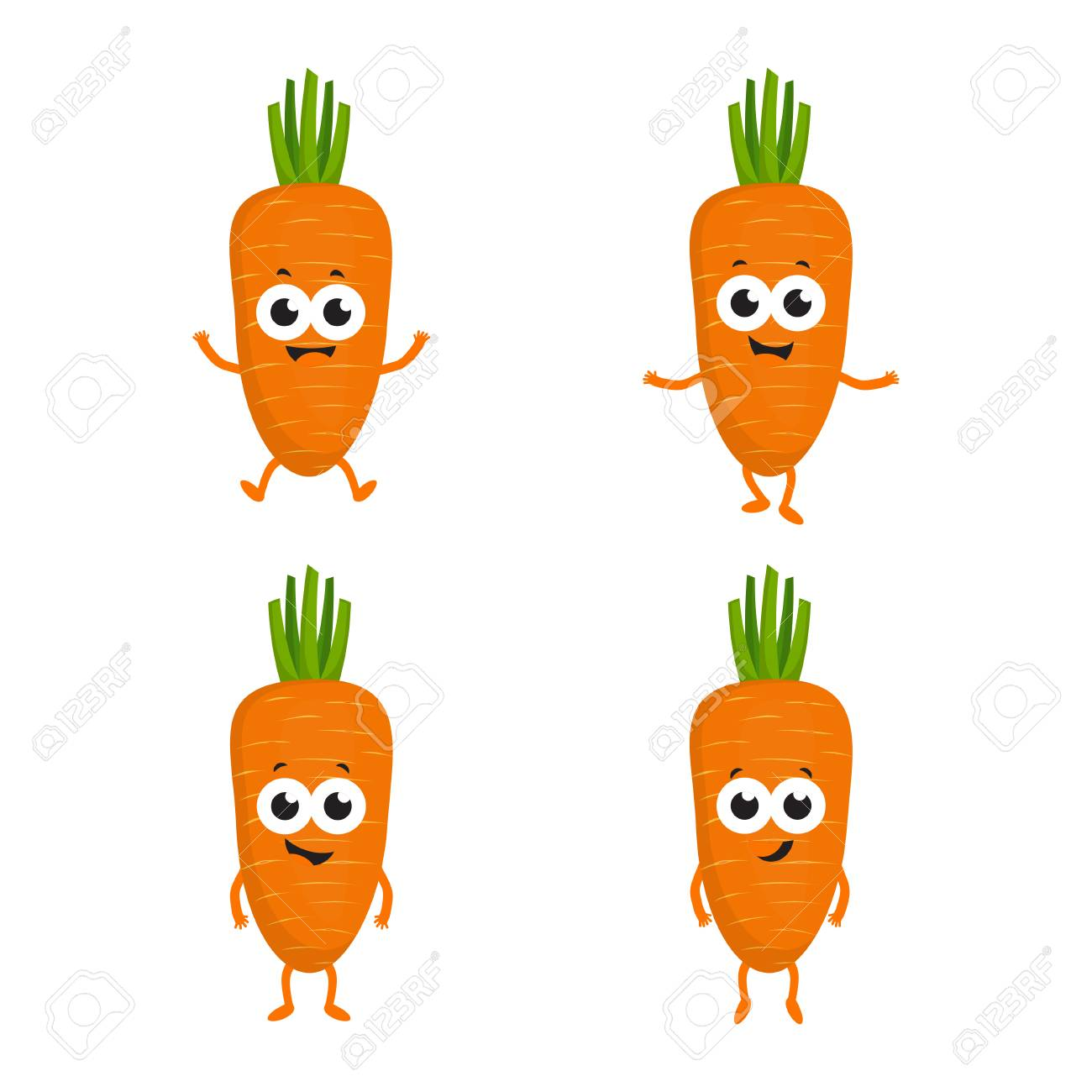 Set With Cartoon Carrots Cute Funny Vegetables Isolated On White