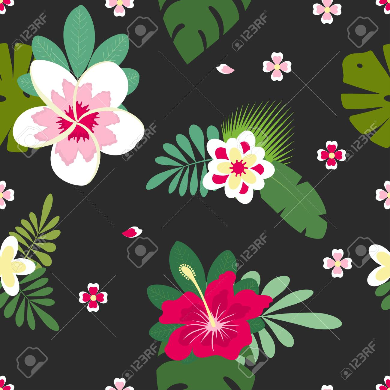 Pink and white hibiscus flowers with palm leaves and plumeria pink and white hibiscus flowers with palm leaves and plumeria on black background hawaiian tropical izmirmasajfo