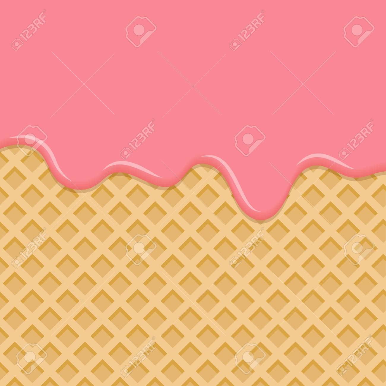 Sweet waffle with pink glaze. Dessert with pink cream, melted on wafer background. Vector Illustration - 95569024