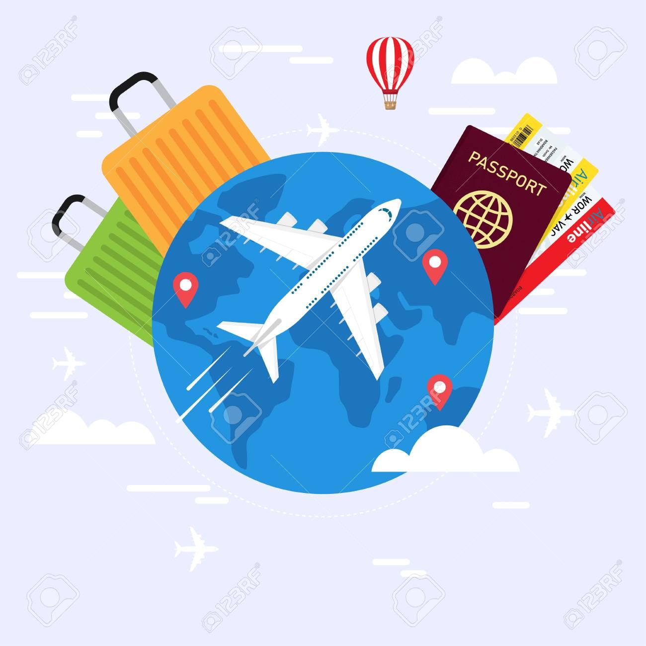 travel planning travel concept passport airplane ticket world
