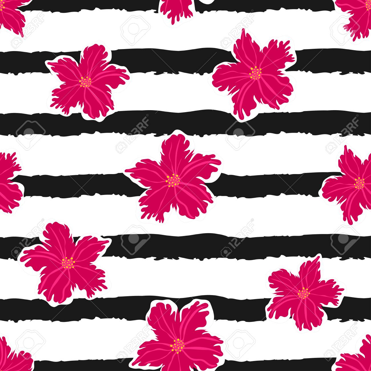 Seamless Pattern With Flowers On A Striped Background Simple