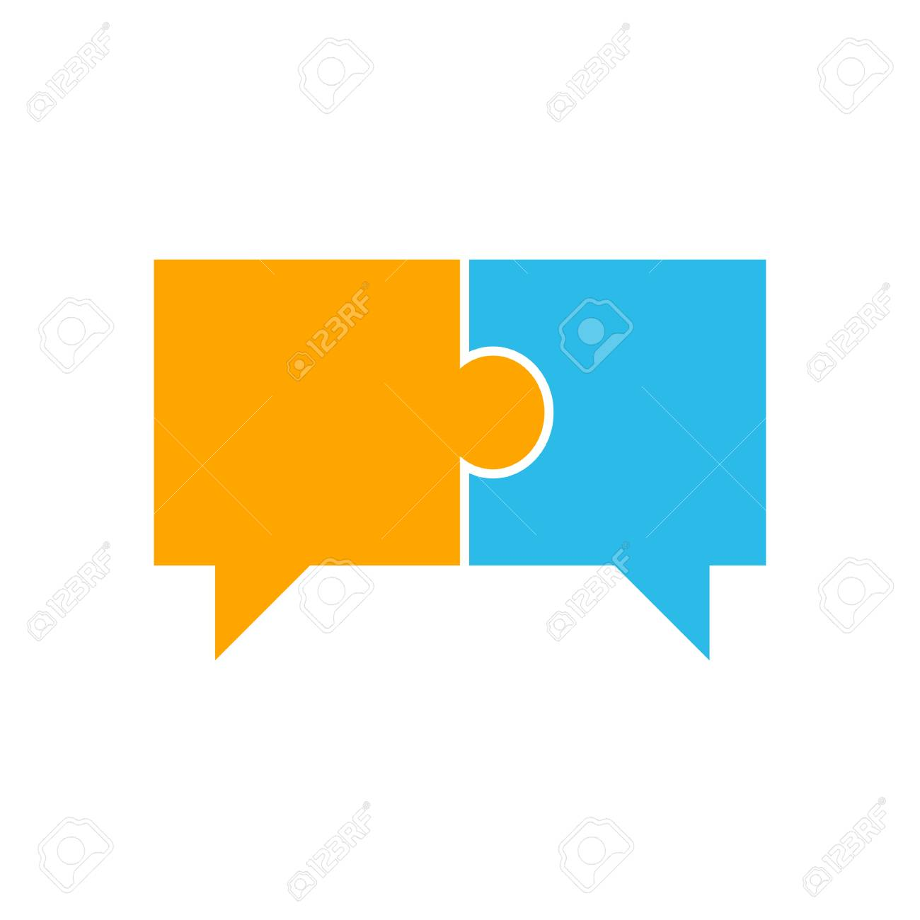 Speech Bubble In Puzzle. Two pieces of connected puzzle speech bubble. vector illustration - 101685228