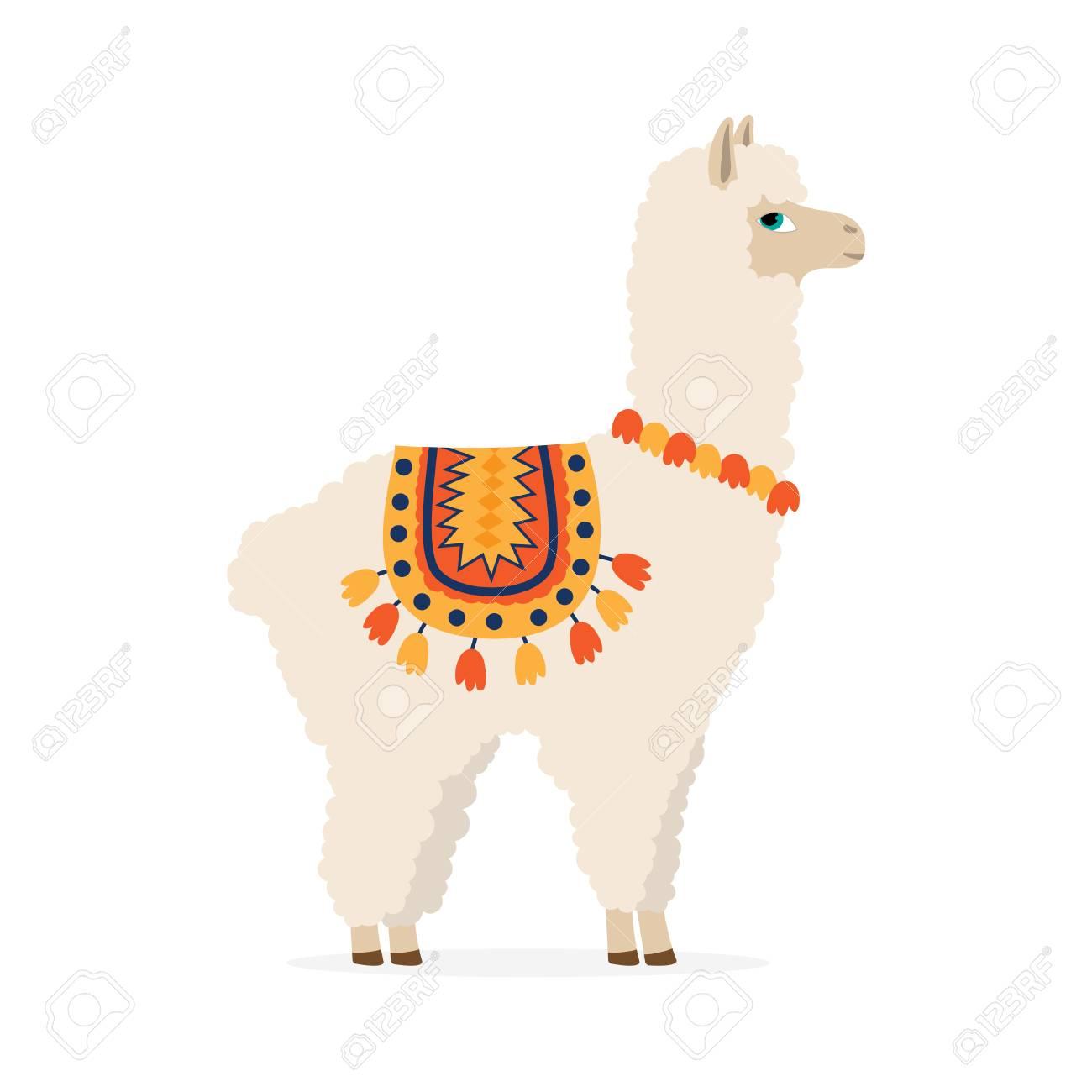 Cute Drawn Llama Or Alpaca Funny Animal Vector Illustration