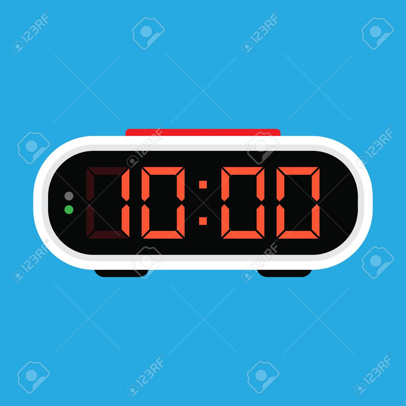 Digital alarm clock icon. Vector Illustration, on blue background - 102991197
