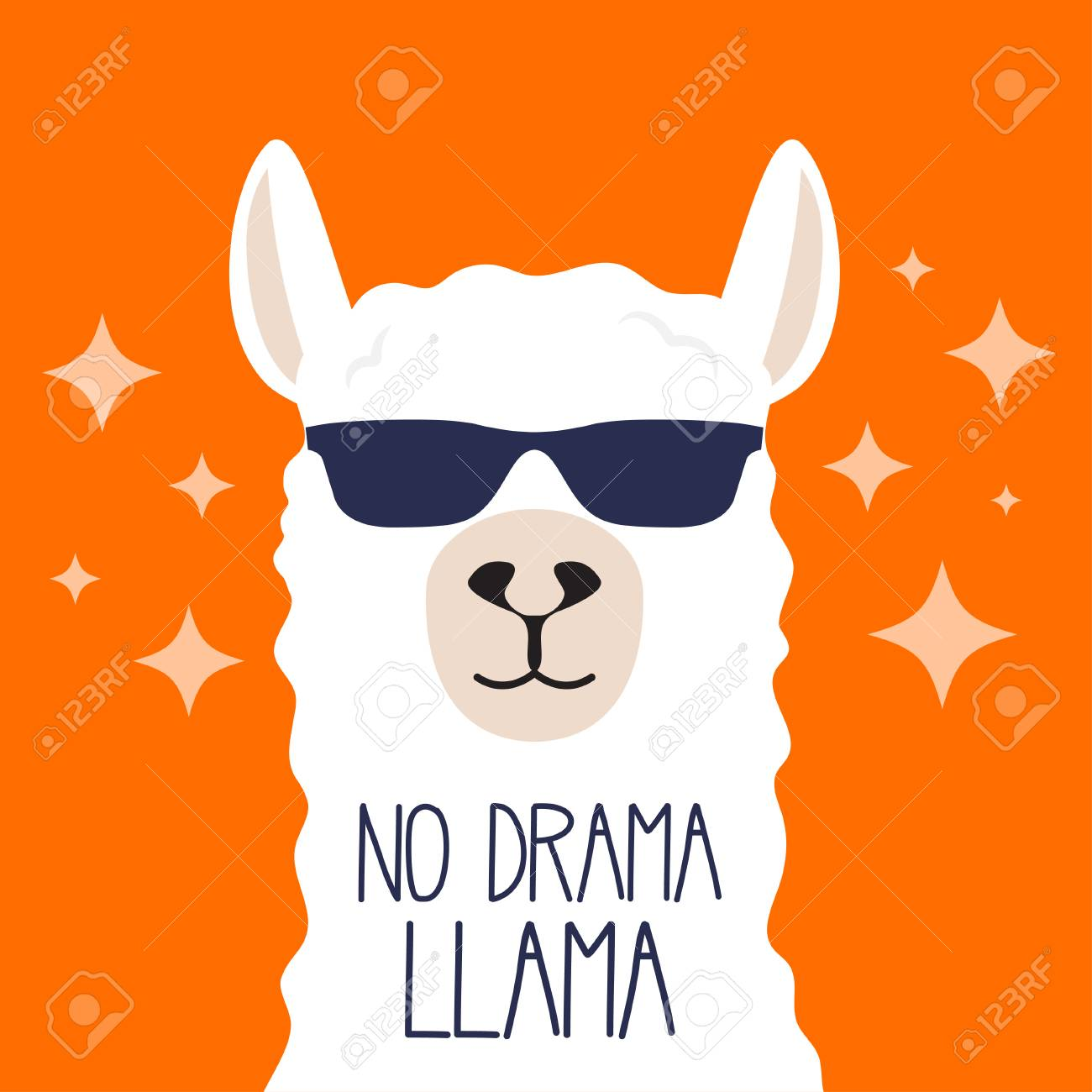 White llama with sunglasses and lettering. No drama llama. Motivational poster for prints. Vector illustration. - 103016018