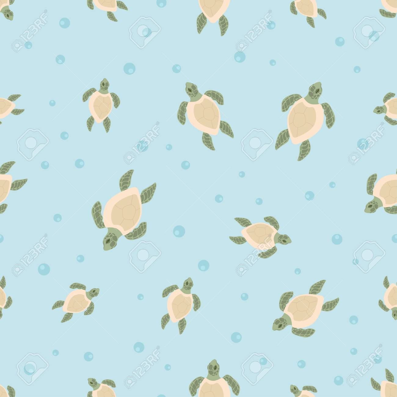 Seamless Pattern With Cute Turtles In Blue Water With Air Bubbles