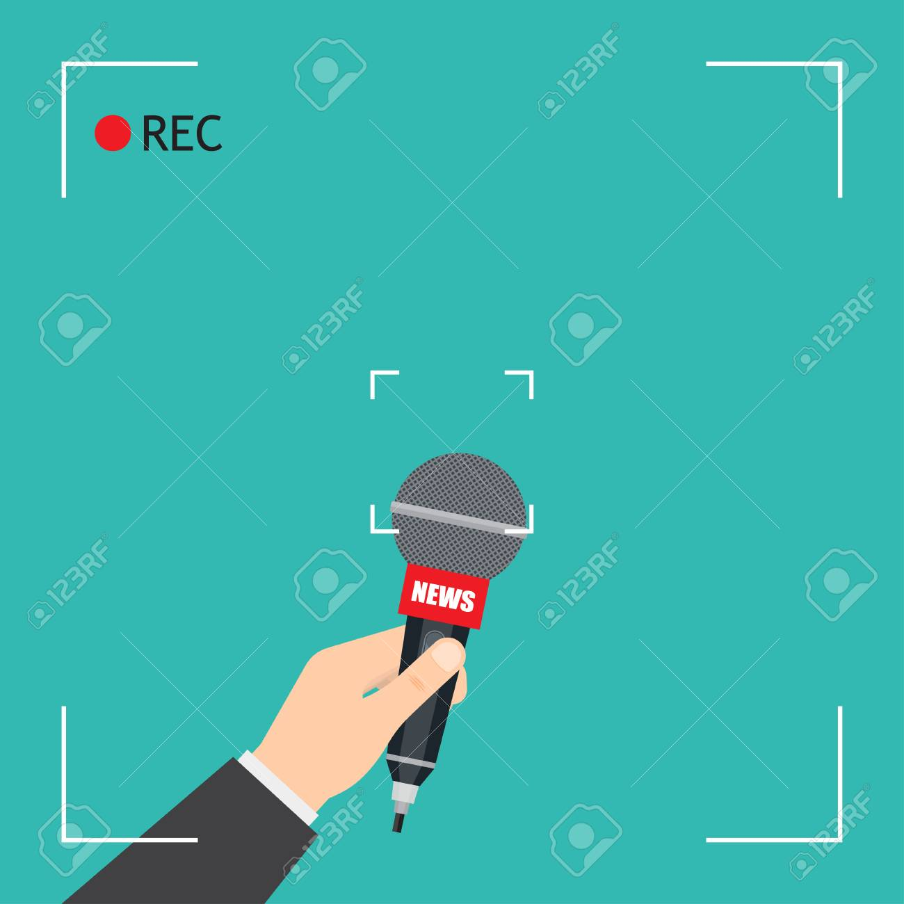 Hand with microphone. Focus TV live report with camera frame and record. vector illustration - 111671497