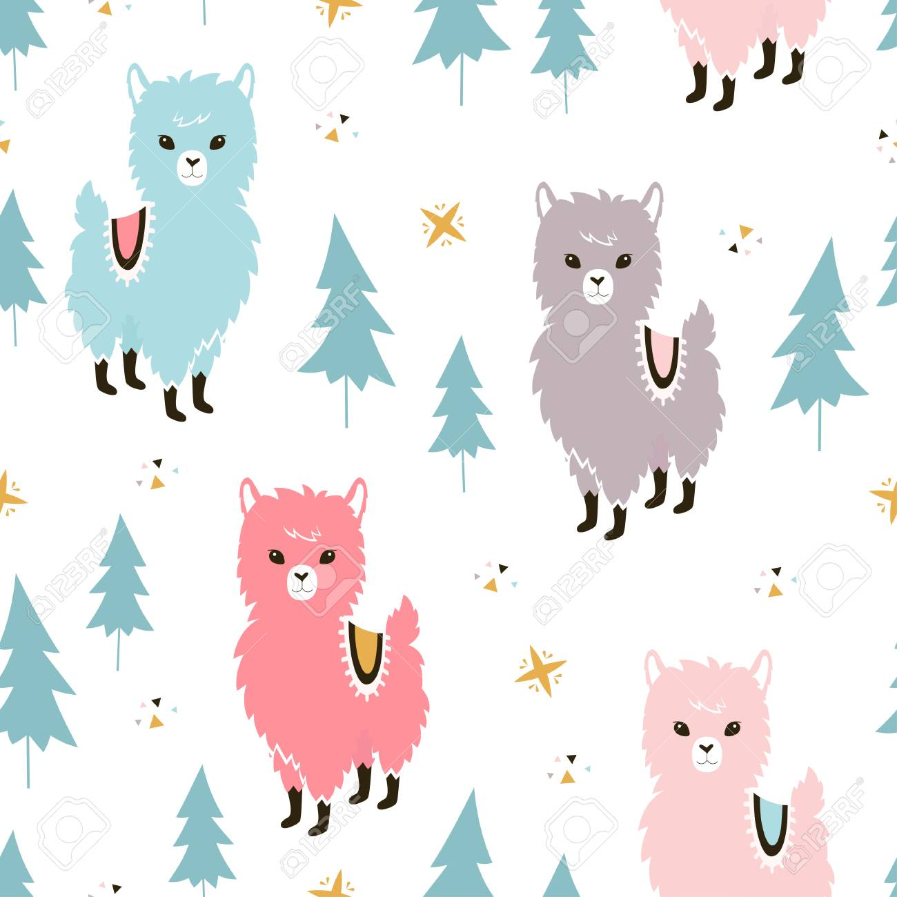 127633019 christmas llamas seamless pattern winter holidays greeting card background with cute cartoon animal