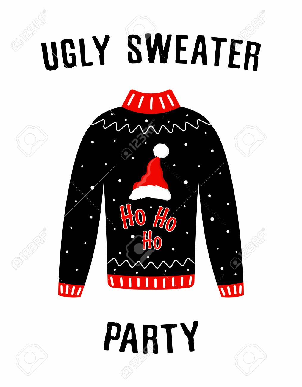 Cute banner for Ugly Sweater Party, holiday background with Christmas..