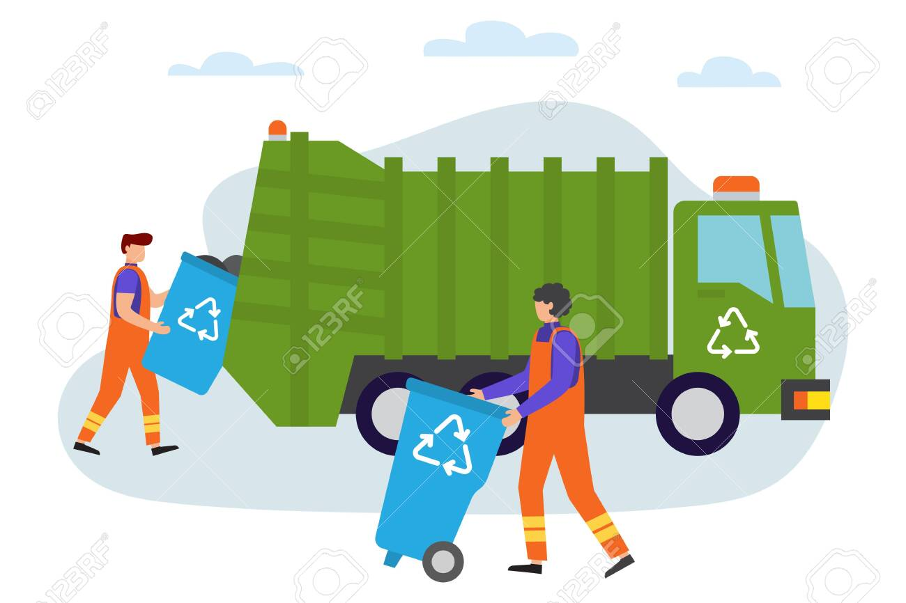 Garbage man at work. Lorry for urban waste removal service. Waste recycling. Gathering, sorting and transporting process of garbage. Vector illustration. People gather trash - 133162730