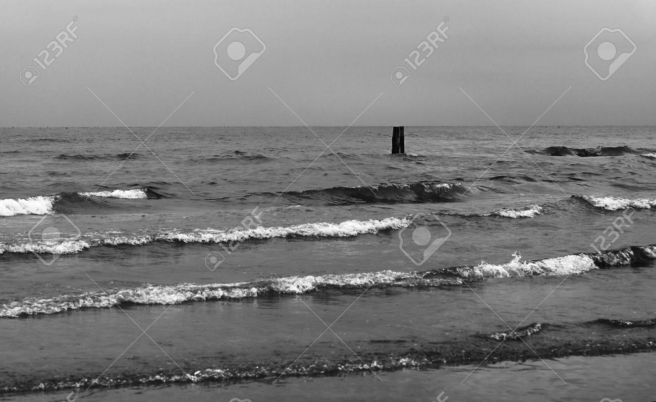 The troubled sea in the autumn cloudy day. - 79766221