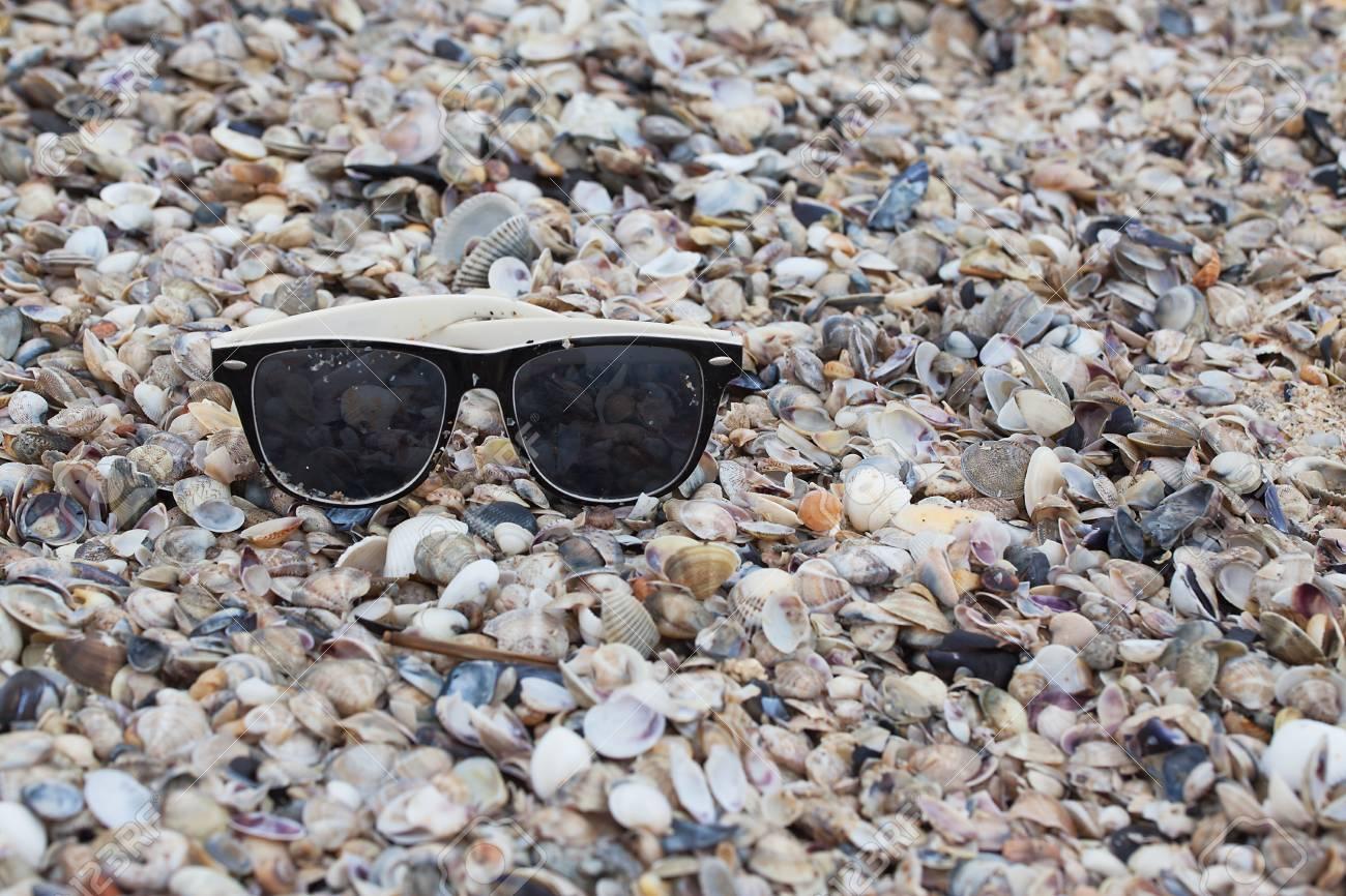 Sunglasses on seashells on the seashore close-up. - 79907679