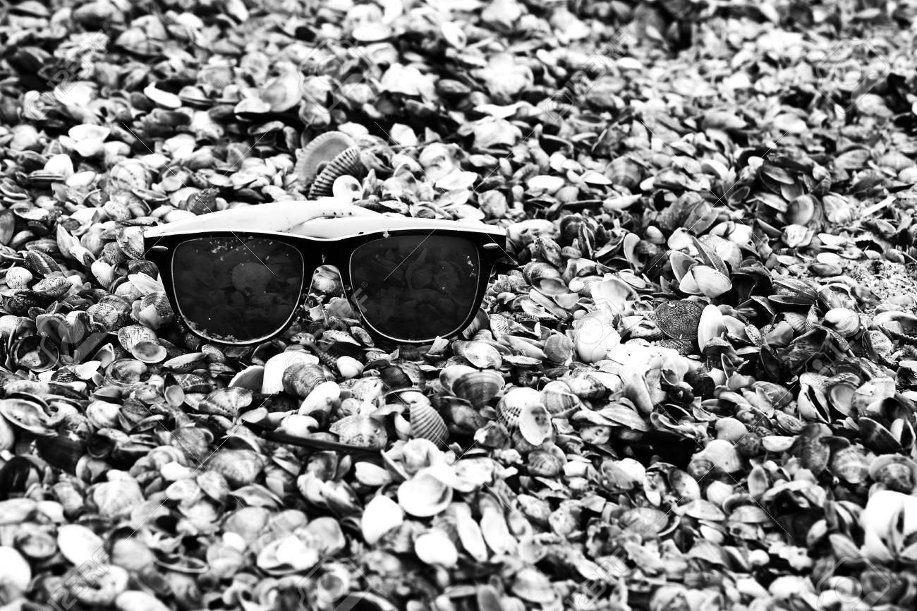 Sunglasses on seashells on the seashore close-up. - 85542864