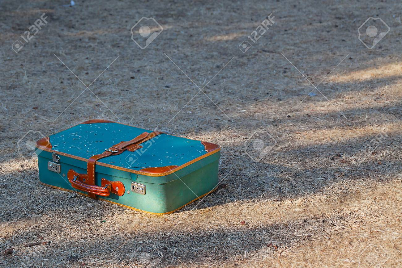 Green old suitcase on grass close-up. - 89989923