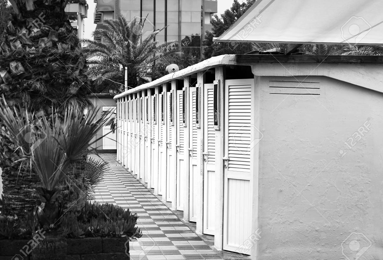 Beach cabins among palm trees and flowers close-up. - 93448709