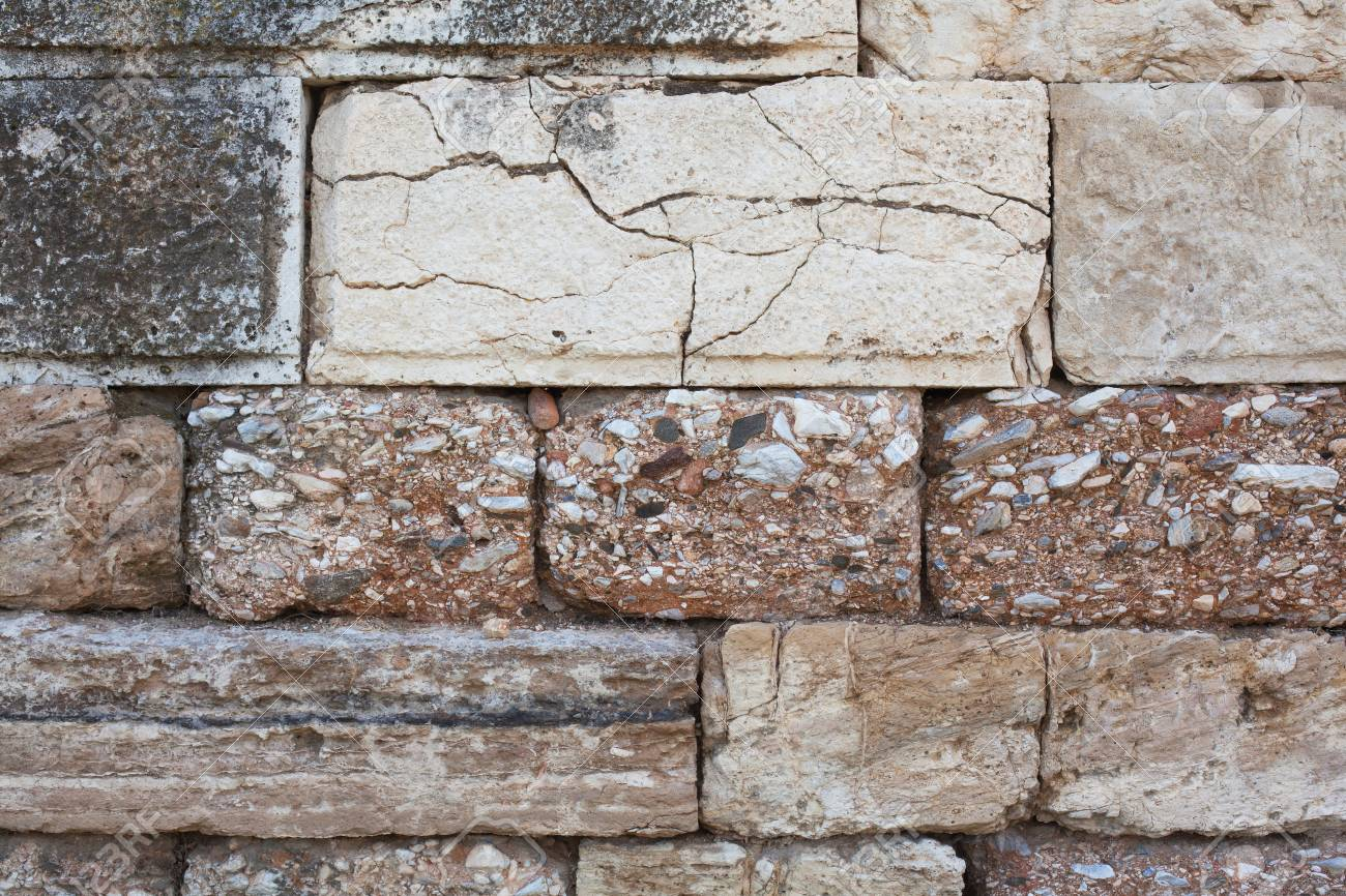 View of the stone wall of the fortress close-up, background texture. - 97768988