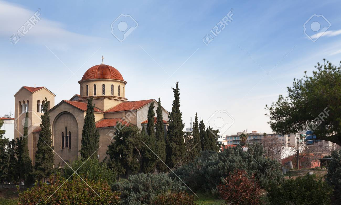 Ancient Greek church of red and white stone. - 98144358