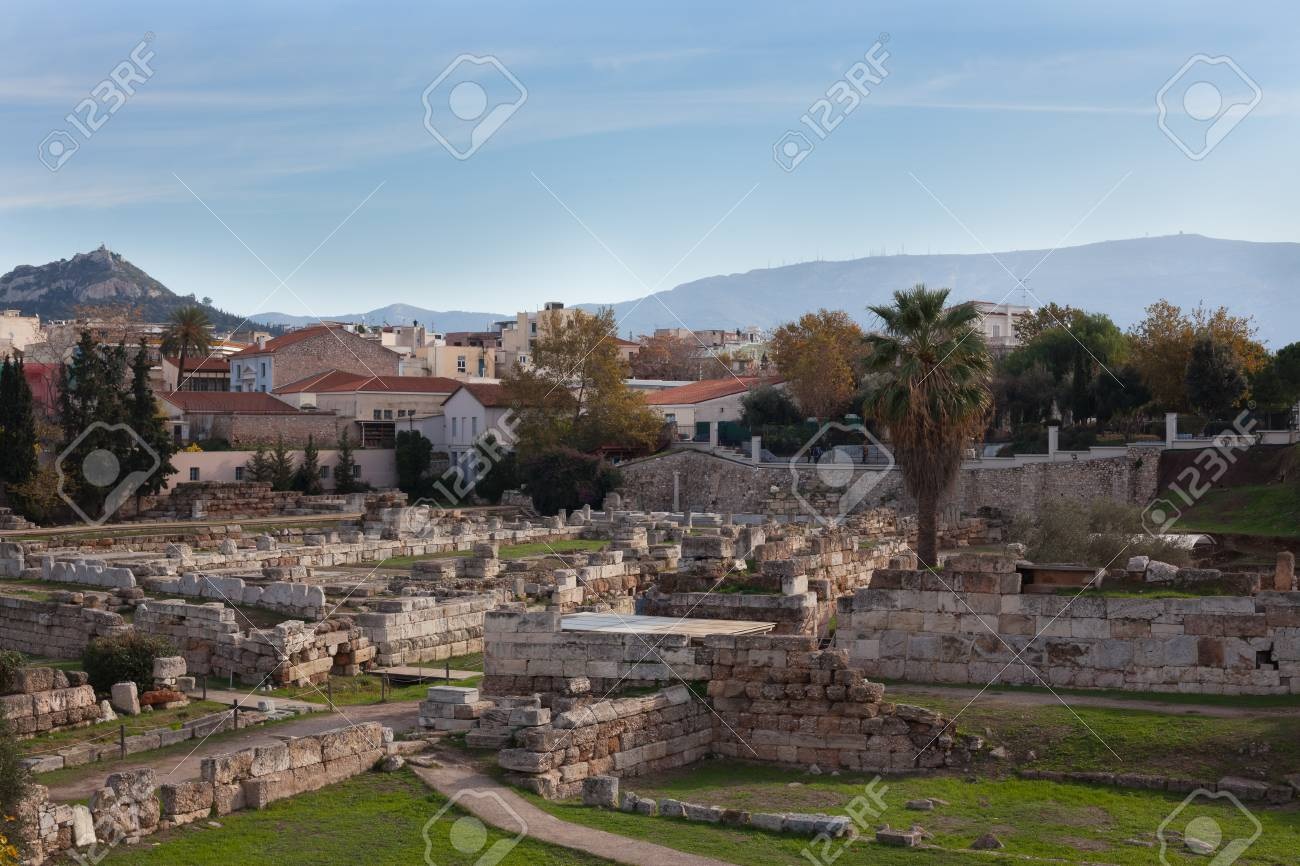 Ruins of ancient Greece in the city of Athens. - 105827977