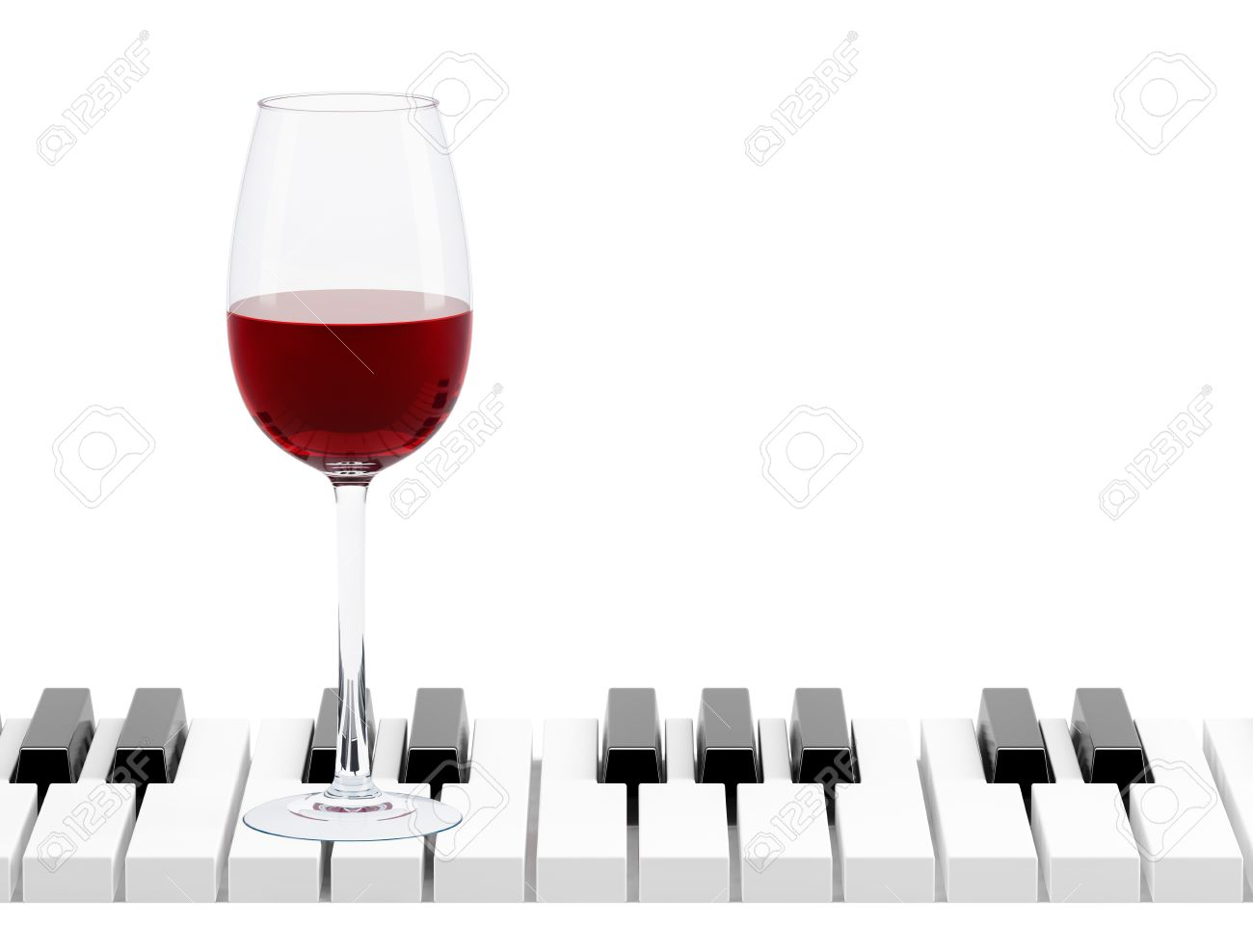 wine glass on piano key on white background Stock Photo - 19390144
