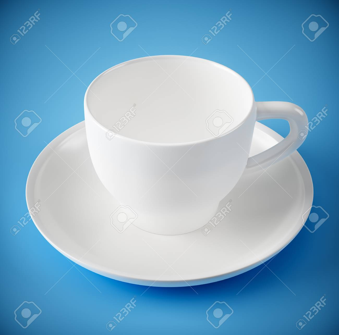 white cup and plate on blue background stock photo picture and