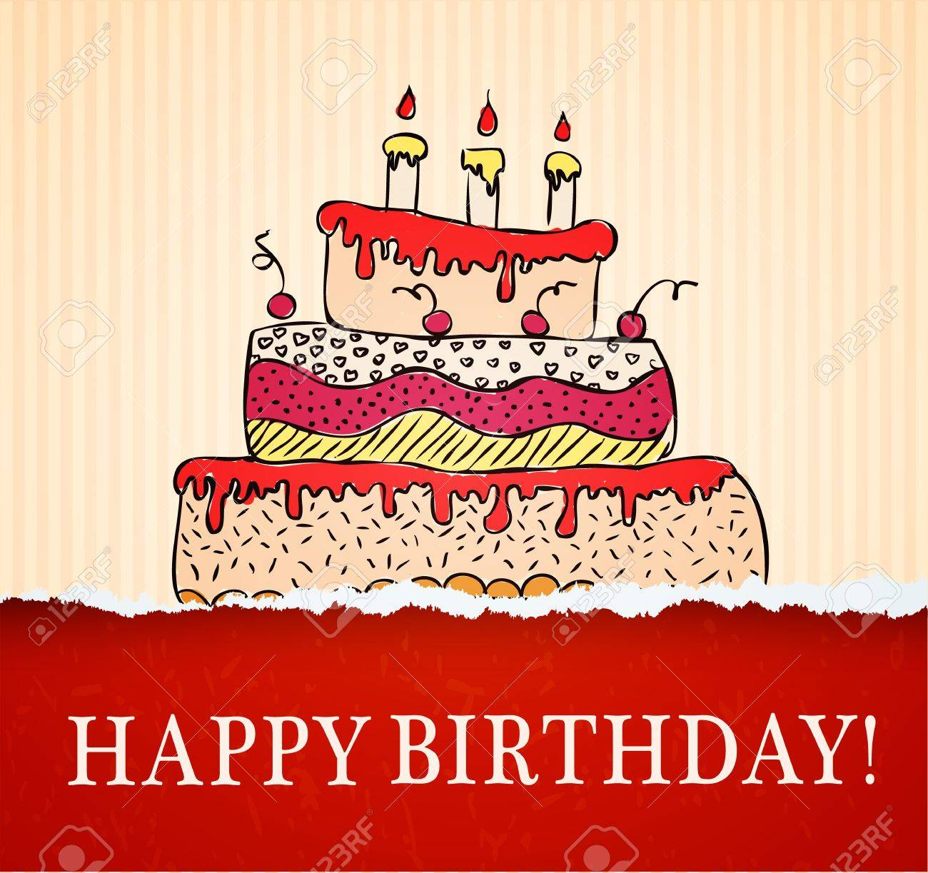 Birthday card hand drawn with cake on paper texture illustration birthday card hand drawn with cake on paper texture illustration stock vector 19392518 kristyandbryce Image collections